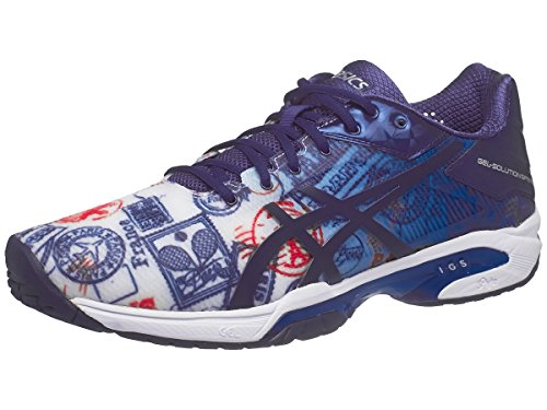 Asics Ascis Men's Gel-Solution Speed 3 L.E. Paris Tennis Shoe-10 D(M) US-Imperial/Indigo Blue/Vermilion