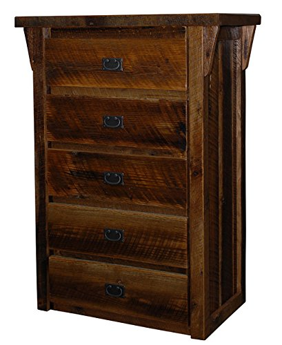 Rustic Natural Reclaimed Barn Wood Chest Dresser - 5 DrawersClear Varnish Amish Made in USA