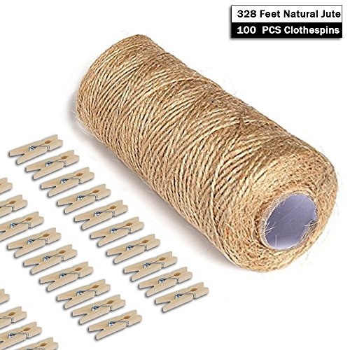 Giveet 328 Feet Natural Jute Twine and 100 Pieces Mini Clothespins, Multi-Purpose Arts Crafts Twine Industrial Heavy Duty Packing String for Gifts, DIY Crafts, Festive and Gardening Applications (Green Wax Ribbon)