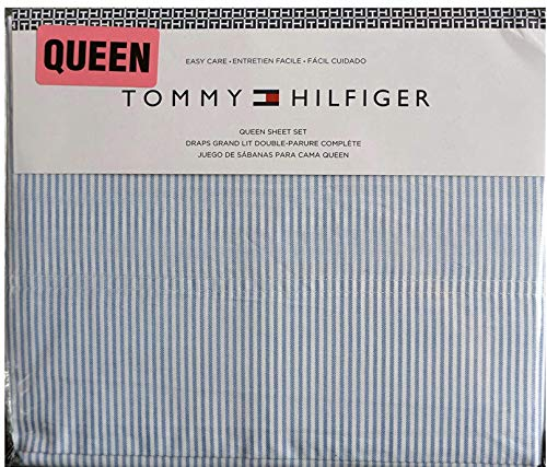 Tommy Hilfiger King Sheet Set Ithaca Stripe Blue White 4 Pc Bedding ()