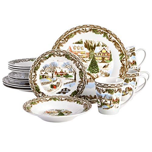Gibson Home Christmas Toile 16 Piece Dinnerware Set, Multicolor –