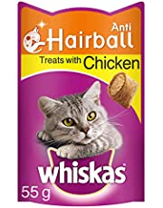 Whiskas Anti-Hairball Cat Treats with Chicken, 55 g (Pack of 8)