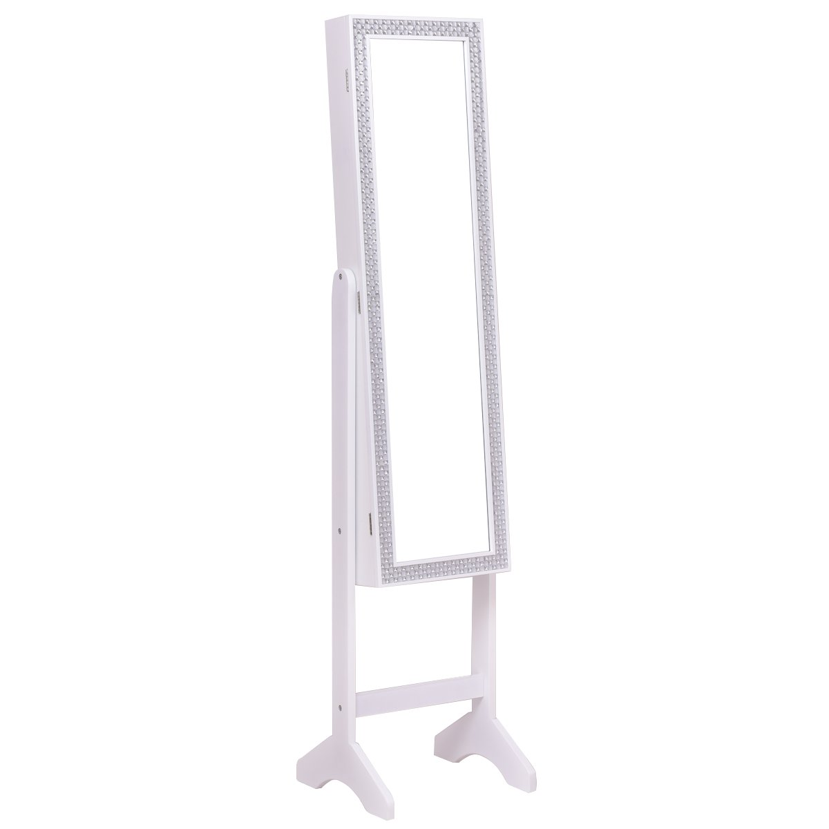 CASART Mirrored Jewelry Cabinet Floor Stand Resin Makeup Armoire Storage W//Diamond Decoration White