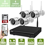 Cheap Wireless 8-Channel 1080P Security Camera System With 4pcs 1080P Full HD Cameras,Home CCTV Surveillance System,Indoors&Outdoors IP Cameras+8CH House Wifi NVR Recorder,1TB Hard Disk Drive Pre-Installed.