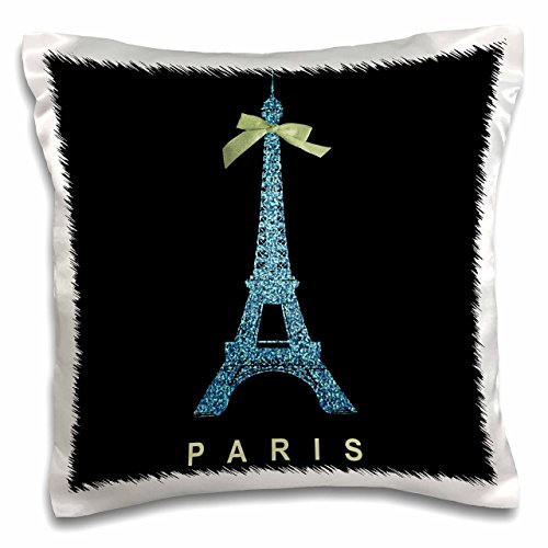 3dRose pc_112910_1 Blue Eiffel Tower with Green Girly Ribbon Bow-Black Stylish France Souvenir-Glam Travel Fashion-Pillow Case, 16 by 16