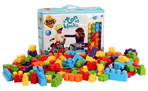 Kids at Work a Ton of Blocks Large Building Bag By Amloid I 150 Piece Colorful Assortment & Durable Block Set by Amloid