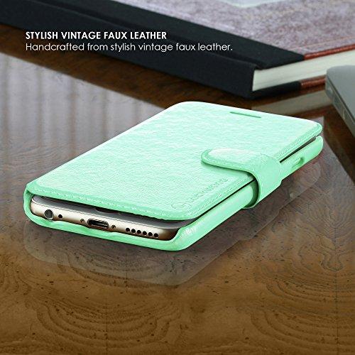 Lockwood iPhone 6/6s | Folio Wallet Card Case for Women/Girls | Faux Leather | Vintage Mint | (4.7 Inch) | Ultra Slim & Light