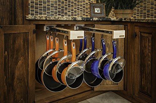 Dual-ing Glideware Cookware Organizer with 14 Hooks by Glideware, LLC by Glideware