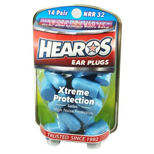 HEAROS Xtreme Protection Noise Cancelling Disposable Foam Earplugs NRR 32 Hearing Protection, 14...