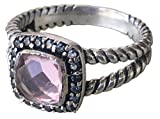 Gempara Designer Inspired 7mm Cushion Cable Twisted Morgenite Ring