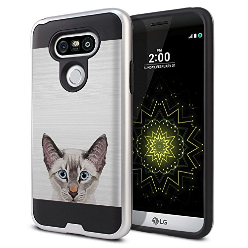 - FINCIBO Case Compatible with LG G5 H850 VS987, Dual Layer Brushed Hybrid Hard Protector Case Cover Anti Shock TPU for LG G5 - Lynx Point Lilac Siamese Cat