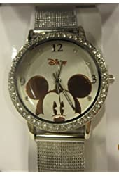 Disney Women's MK2185 Mickey Mouse Mesh Metal Band Rhinestone Bezel Watch