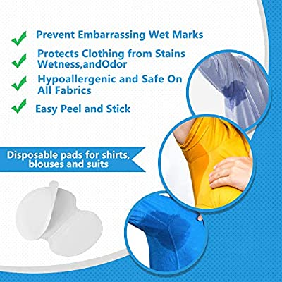 Underarm Sweat Pads - Joseche PREMIUM QUALITY Fight Hyperhidrosis [80 Pack] for Men and Women Comfortable, Non Visible, Extra Adhesive, Disposable Dress Guards/Shields, Sweat Free Armpit Protection