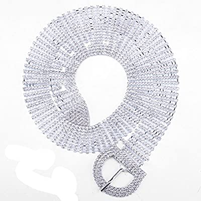 FUMUD 9 Line Crystal Rhinestone Chain Waist Buckle Belt Fashion Accessory for Women