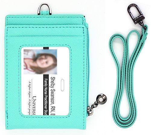 ld ID Badge Window Holder Card Neck Strap Wallet Bill Money Case Zipper Landyard Women (Mint) ()