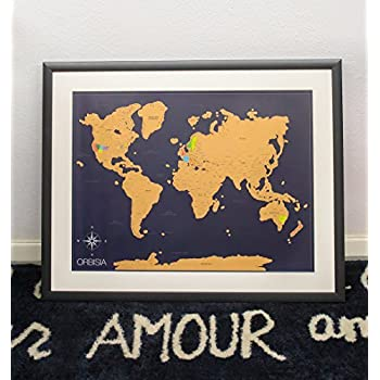 Amazon scratch off world map vintage deluxe states scratch off world map poster with us states included scratchable world travel map 18x24 easy to frame perfect gift for travelers and teachers gumiabroncs Images