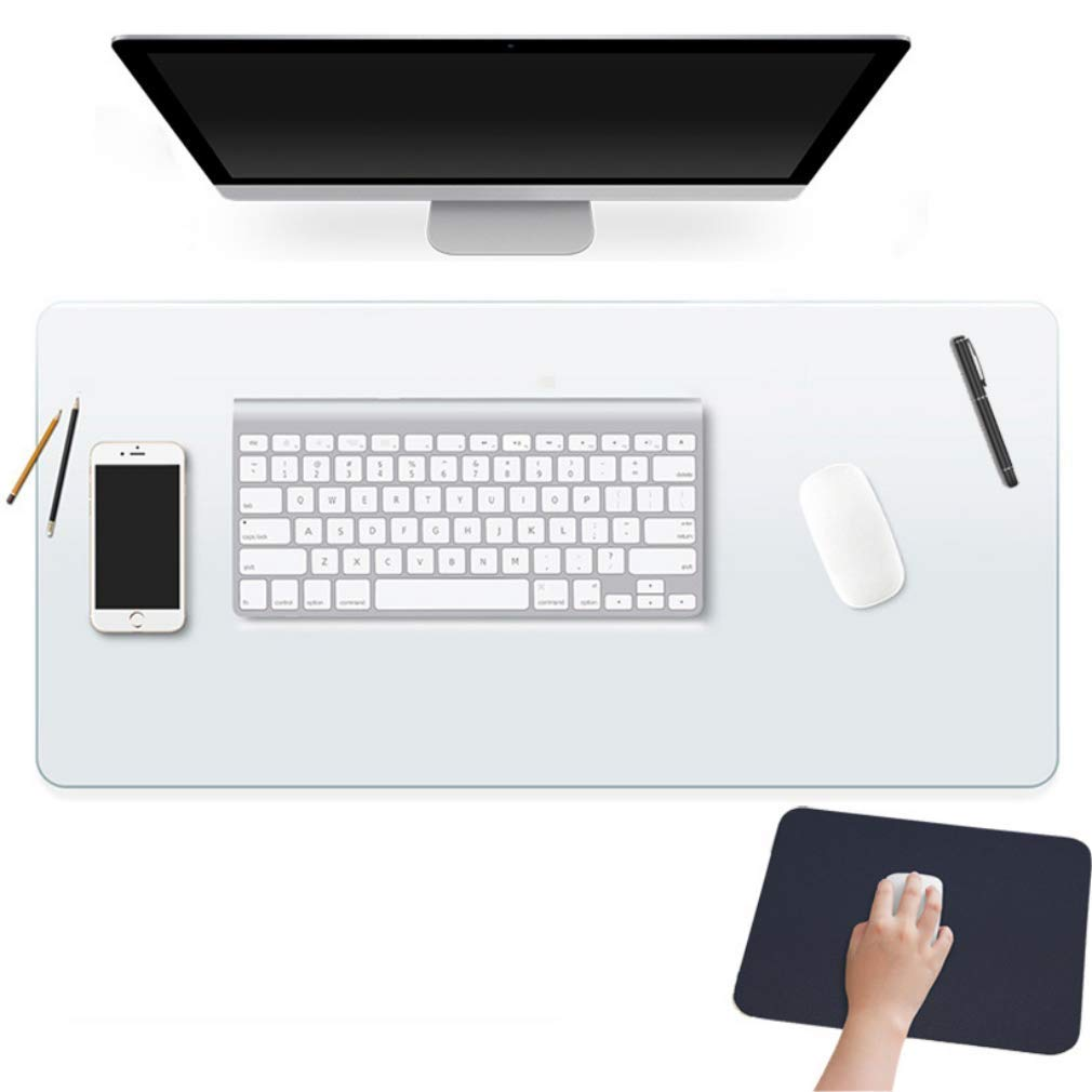 24 X 48 Inch Clear Desk Pad Protector Transparent Desk Mats Blotter on Top of Desks for Laptop Computer Keyboard PVC Vinyl Desktop Writing Mat Cover With Mouse Pad Non-slip Waterproof Wipeable Plastic