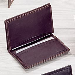 Cowhide Nappa Leather Two Fold Business Card Case II Color: Brown