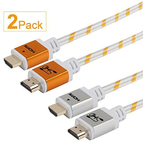 10' Hdmi Gold Video Cable - SHD HDMI Cable 4k Ultra 2.0V HDMI Cord Support 3D Ethernet 1080P Golden and Sliver-2Pcs-10Feet