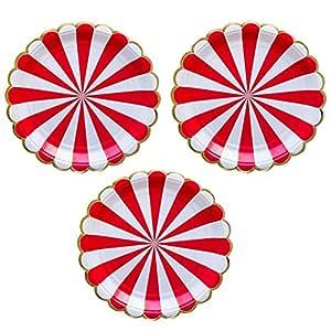 Red Stripes Party Celebration Paper Plates 12 pieces - 22cm