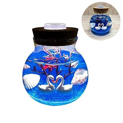 Globalflashdeal Lampe De Nuit Lampe DIY DAquarium Belle Decoration De La Maison Sable Bleu Baleine Durable Lampe LED De Meduse De Simulation Cadeau De La Saint Valentin