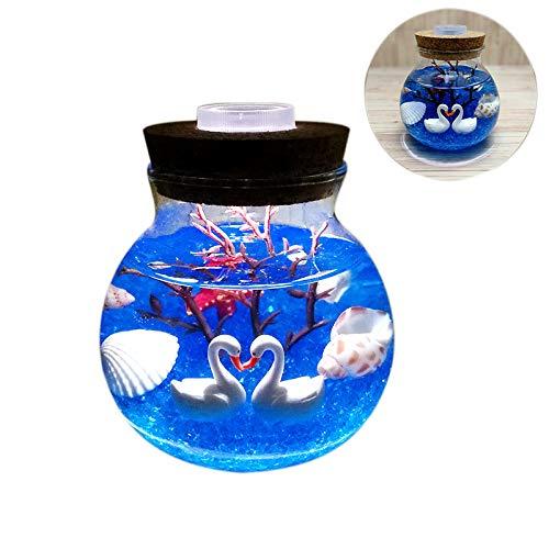 SODIAL Night Light Creative Beautiful Aquarium DIY Light Durable Swan Blue Sand Home Decoration Simulation Jellyfish Led Lamp Valentine