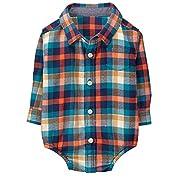 Gymboree Baby Boys Long Sleeve Button up Bodysuit, Orange Plaid, 12-18 Mo