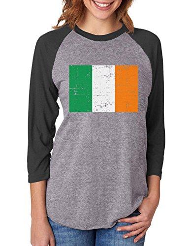 Vintage Ireland Flag Retro Style 3/4 Women Sleeve Baseball Jersey Shirt Large black/gray