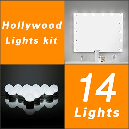 WanEway Hollywood DIY Vanity Lights Strip Kit for Lighted Makeup Dressing Table Mirror Plug in LED Lighting Fixture with Dimmer and Power Supply, 14 Light/20FT, Mirror Not Included