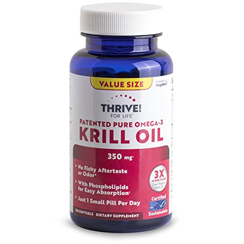 Thrive! for Life Patented Pure Omega-3 Krill 350 Mg, 120 Count