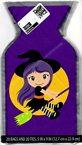 20 Pieces, Cello Treat Bags with Ties, Halloween, Girl Witch on Broom with Moon, Clear 5