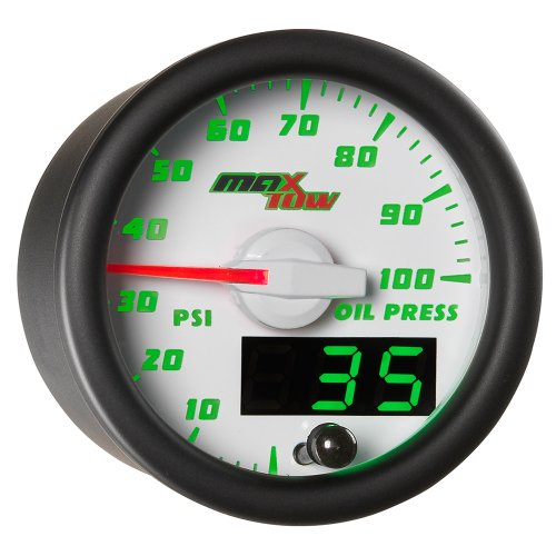 MaxTow Double Vision 100 PSI Oil Pressure Gauge Kit - Includes Electronic Sensor - White Gauge Face - Green LED Illuminated Dial - Analog & Digital Readouts - for Trucks - 2-1/16 52mm