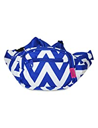 Ever Moda Fanny Pack Print Collection - Royal Blue Chevron