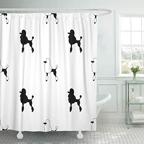 Emvency Shower Curtain Silhouette Walapaper Black Poodles on White Dog Shower Curtains Sets with Hooks 60 x 72 Inches Waterproof Polyester -