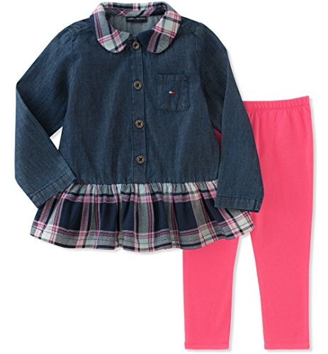 Tommy Hilfiger Baby Girls' Tunic Legging Set, CORE Navy/Pink Swizzle, 3-6 Months (Tommy Hilfiger Tunic)