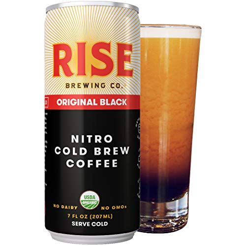 RISE Brewing Co. | Original Black Nitro Cold Brew Coffee (4 7 fl. oz. Cans) - Sugar, Gluten & Dairy Free | Organic, Non-GMO Ingredients | Clean Energy, Low Acidity, Naturally Sweet | 0 Calories