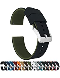 19mm Black/Army Green - Barton Elite Silicone Watch Bands - Quick Release - Choose Strap Color & Width
