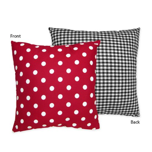 Sweet Jojo Designs Red and White Ladybug Polka Dot Decorative Accent Throw Pillow ()
