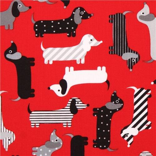 red dachshund dog fabric Urban Zoologie by Robert Kaufman USA (per 0.5 yard multiples)