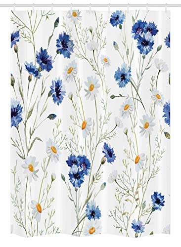 Ambesonne Watercolor Flower Stall Shower Curtain Wildflowers And Cornflowers Daisies Blooms Buds Fabric Bathroom Decor Set With Hooks 54 W X 78 L