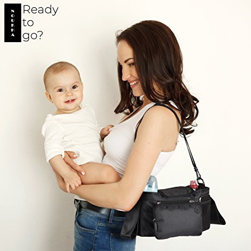 Stroller Organizer Bag -Universal Fit, Large Storage Space for Baby's Accessories and Phone, Insulated Cup Holders, Shoulder Strap, Removable Compartments, Stroller Caddy, Parent Console Organizer by Noukha (Image #4)