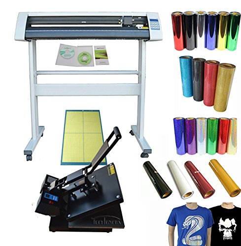 Techtongda 34'' Vinyl Cutting Plotter Heat Press Vinyl T-shirt Transfer Bundle by vinyl cutter