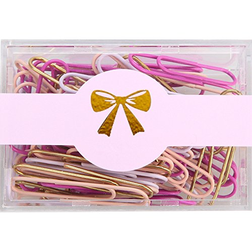 MultiBey Assorted Color Paper Clips Non-skid Smooth Finish Plastic Coated Steel Wire U Pin Dispensers Gold/ Lilac/ Light Pink/ Modena, Medium and Large Size, 200pcs/28mm 70pcs/50mm (50mm)