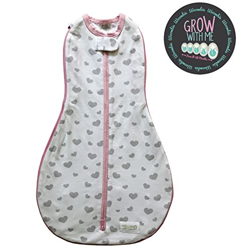 (Woombie Grow with Me Baby Swaddle - Convertible Swaddle Fits Babies 0-9 Months - Expands to Wearable Blanket for Babies Up to 18 Months (Gray Hearts))