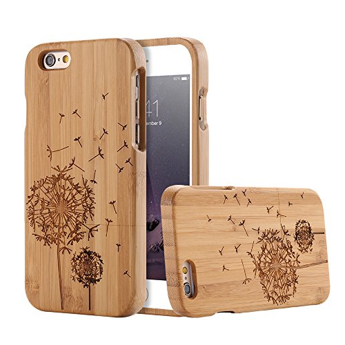 For Apple iPhone 6 Plus & iPhone 6s Plus 5.5 inch Case, FLOVEME [Wooden Engraving Pattern] Premium Handmade Real Natural Wood Hard Bamboo Shockproof Slim Cover Holder - Bamboo (Dandelion) - Iphone 6 Wood Case Dandelion