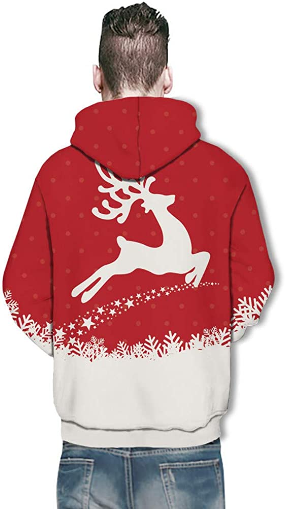 iLXHD Couple Cute Santa Print Ugly Christmas Pocket Sweatshirt Hoodies Pullover