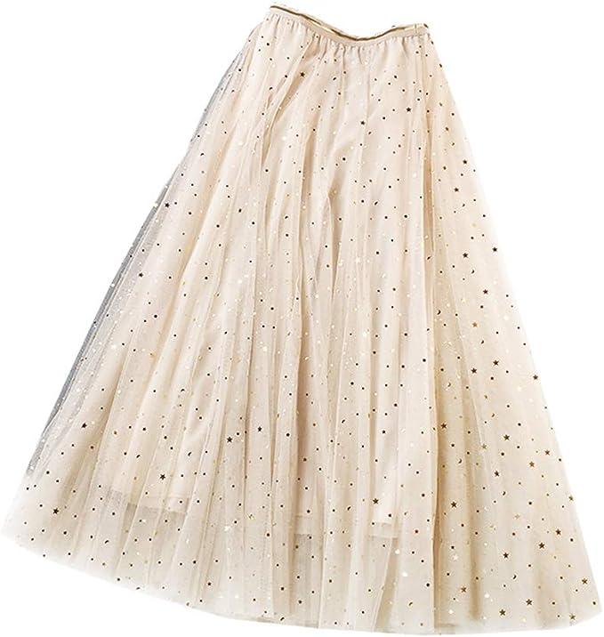 Falda de Tul Elegante Estrellas Espumoso Maxifalda Plisada Mujer ...