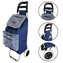 Lightweight Foldable Laundry / Shopping Trolley Cart Rolling Push Dolly with Tote (Ocean Spray)