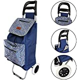 Lightweight Folding Laundry, Shopping, Grocery, Utility Trolley, Foldable Cart, Pull Cart with Wheels, Rolling Push Dolly with Tote (Ocean Spray)