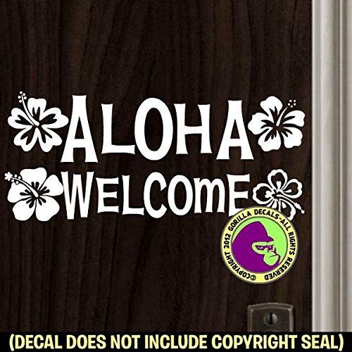 ALOHA WELCOME Hibiscus Flower Hawaii Hawaiian Shop Retail Store Home Front Door Sign Vinyl Decal Sticker ()